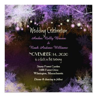 Starry Abends-Waldlila Hochzeits-Einladung Karte