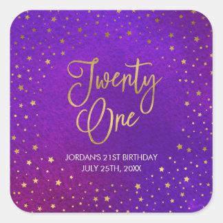Starry lila Watercolor-21. Geburtstag Quadratischer Aufkleber