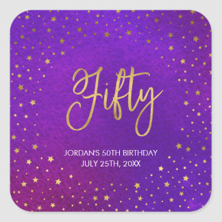 Starry lila Watercolor-50. Geburtstag Quadratischer Aufkleber