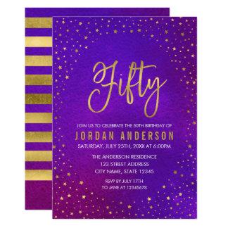 Starry lila Watercolor-50. Geburtstags-Einladung 12,7 X 17,8 Cm Einladungskarte