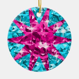 Starry mit Augen Türkis und rosa Diamanten Keramik Ornament