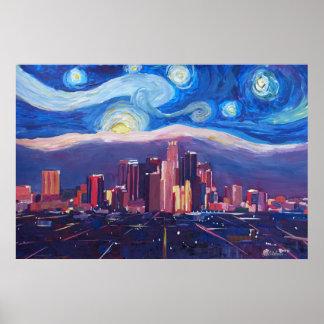 Starry Nacht in Los Angeles - Van Gogh inspiriert Poster