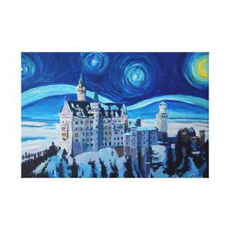 Starry Nacht mit romantischem Schloss Van Gogh Leinwanddruck