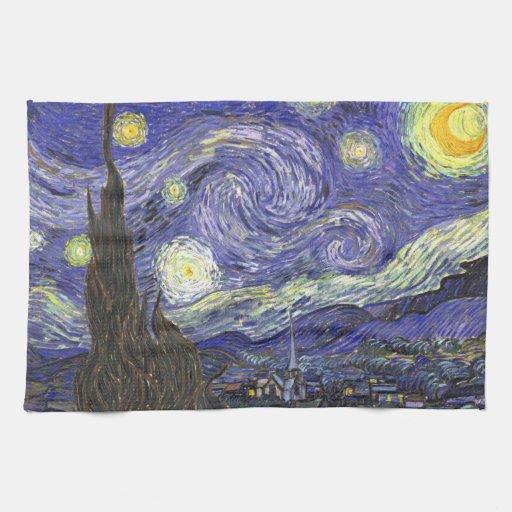 Starry Nacht Van Gogh, Vintager Post-Impressionism Küchenhandtuch