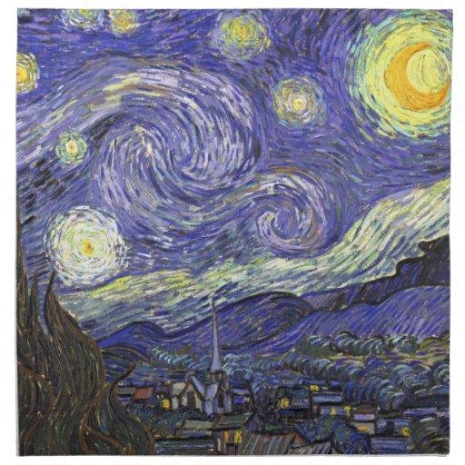 Starry Nacht Van Gogh, Vintager Post-Impressionism Stoff Servietten