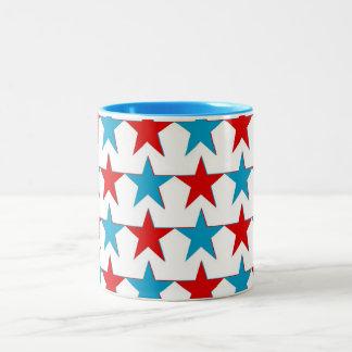 Stars red blue zweifarbige tasse