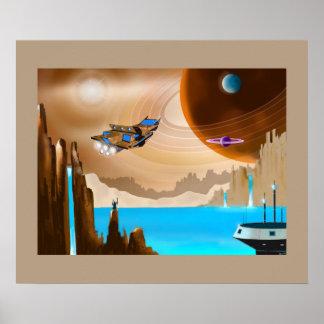 Starship und Scifi-Landschaftskunst-Plakat Poster