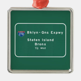 Staten Island Bronx zwischenstaatliches NYC New Silbernes Ornament