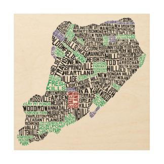 Staten Island-Karten-typografische Kunst-hölzerner Holzdruck
