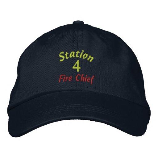 Station, 4, Feuer Leiter-Stickte Hut Bestickte Kappen