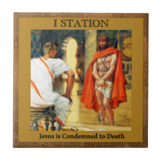 Stationen des Kreuzes #1 von 15 Jesus ist Condmned Keramikfliese