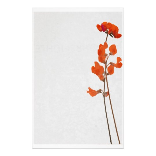 Stationery red flowers briefpapier