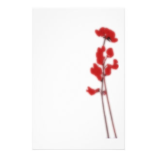 Stationery with red flowers briefpapier