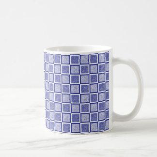Statische blaue und weiße Quadrate Kaffeetasse