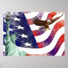 Statue des Freiheit-kahlen Adlers Poster