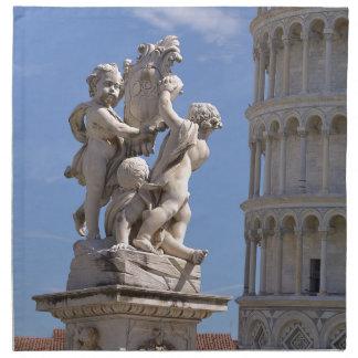 Statue und lehnender Turm von Pisa Serviette