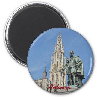 Statue von Peter Paul Rubens in Antwerpen, Belgien Runder Magnet 5,7 Cm