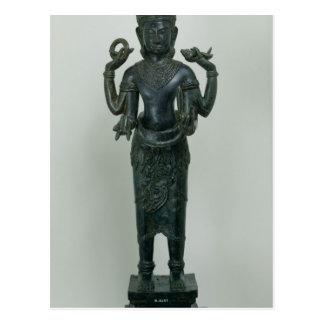 Statue von Vishnu in seiner dreifachen Form von Postkarte