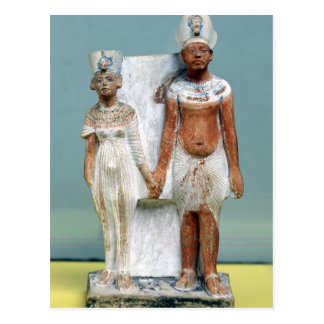 Statuette von Amenophis IV und von Nefertiti Postkarte