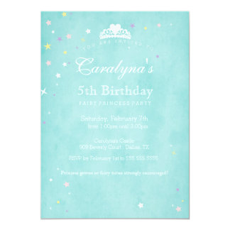 Staub Prinzessin-Birthday Invitation Teal Fairy Karte