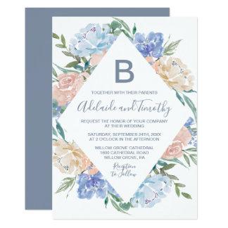Staubige blaue Blumendiamant-Monogramm-Hochzeit Karte