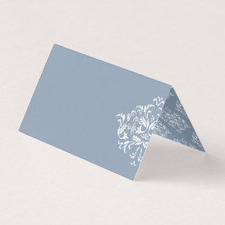 Staubige blaue elegante Damast-Raum-Platzkarten Platzkarte