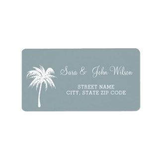 Staubige blaue Palme-HochzeitsAdressen-Etiketten Adressaufkleber