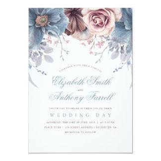 Staubige Blaue und Aquarell-Blumenhochzeit der Karte