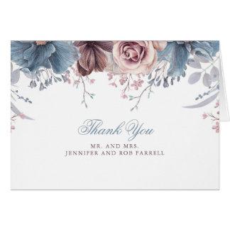 Staubige blaue und malvenfarbene Hochzeit danken Karte