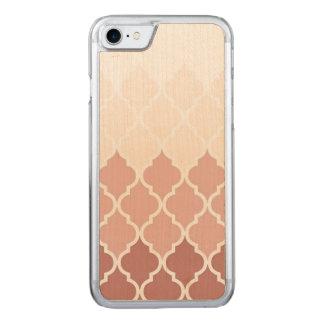 Staubige rosa Quatrefoil iPhone 7 dünner hölzerner Carved iPhone 8/7 Hülle