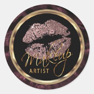 Staubige Rosen-Glitzer-Lippen auf dunklem Runder Aufkleber
