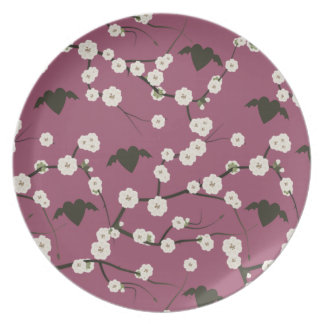 Staubige Rosen-Kirschblüten-Winged Herzen Teller