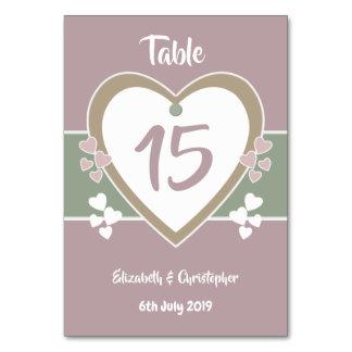 Staubige Rosen-und Grün-Wedding Tischnummer-Karten Karte