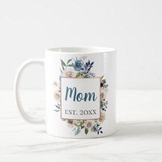 Staubiger blauer Blumengoldrahmen personalisiert Kaffeetasse