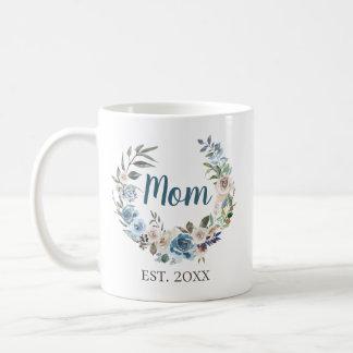 Staubiger blauer BlumenWreath personalisiert Kaffeetasse