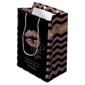 Staubiger Rosen-Glitter-Lippenstift u. Zickzack - Mittlere Geschenktüte