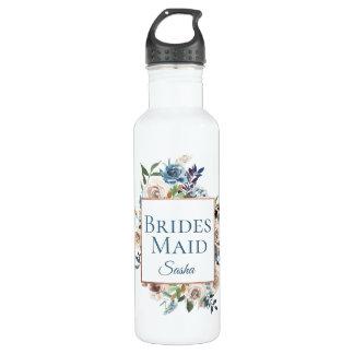 Staubiges blaues BlumenRosen-Goldrahmen-Monogramm Trinkflasche