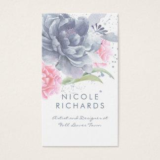 Staubiges blaues und weiches rosa Aquarell-mit Visitenkarte