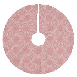 Staubiges rosa Blumenmuster Polyester Weihnachtsbaumdecke
