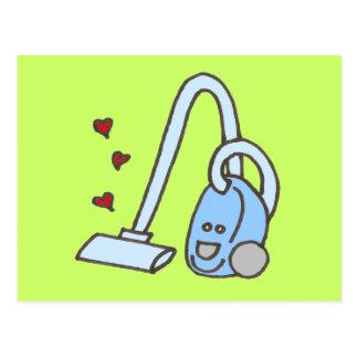 Staubsauger mit Herzen Postkarte