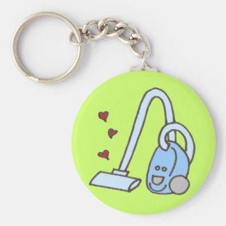 Staubsauger mit Herzen Standard Runder Schlüsselanhänger