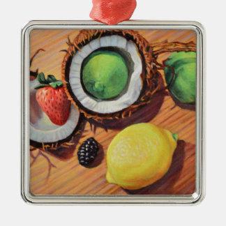 StBerry Limone Zitronen-Kokosnuss-Einheit Quadratisches Silberfarbenes Ornament