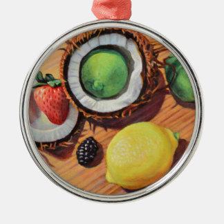 StBerry Limone Zitronen-Kokosnuss-Einheit Rundes Silberfarbenes Ornament