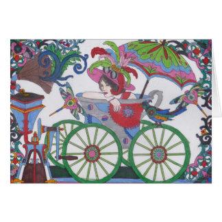 Steampunk 14 Frau im Rot, Silber, blaue Badewanne Karte