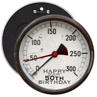 Steampunk altes Manometer-50. Geburtstags-Knopf Runder Button 15,3 Cm