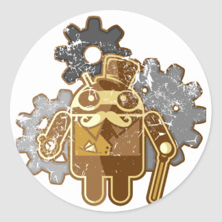 Steampunk Android used-Look Runder Aufkleber