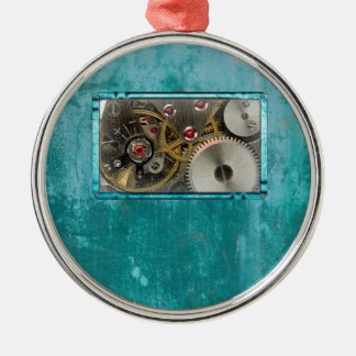 Steampunk aquamarin silbernes ornament