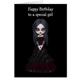 Steampunk Artmädchen, das schwarzes Kleid mit Rot Karte