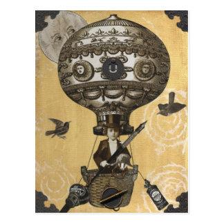 Steampunk Ballon Postkarte