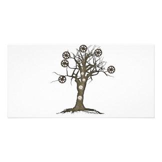 steampunk Baum Individuelle Photo Karten